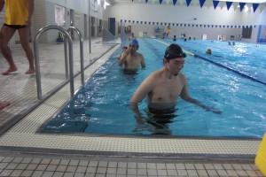 walking in a pool!