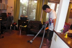 it's one of his daily chores!