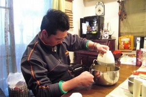 making the birthday cake